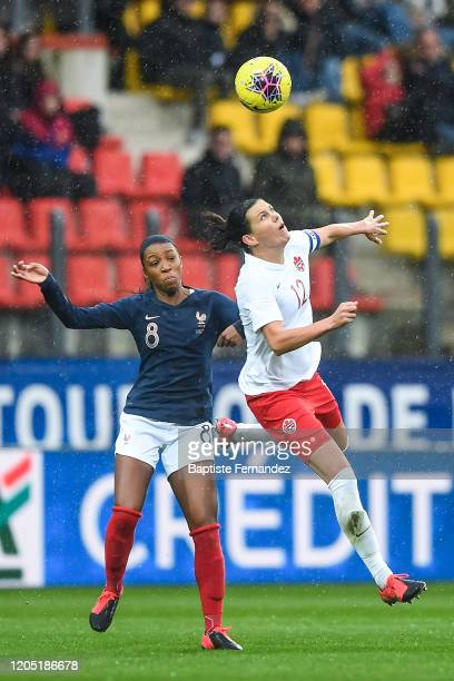 Grace GEYORO of France and Christine SINCLAIR of Canada during the Tournoi de France International Women's soccer match between France and Canada on...