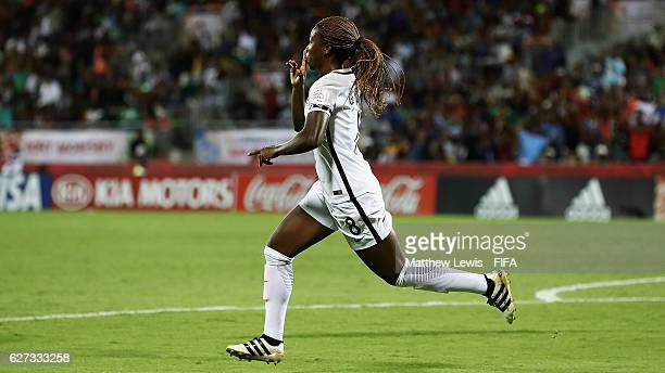 Grace Geyoro of France celebrates her goal during the FIFA U20 Women's World Cup Papua New Guinea 2016 Final between Korea DPR and France at the...