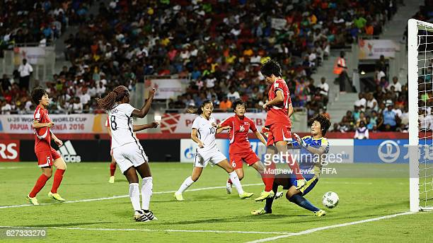 Grace Geyoro of France scores a goal during the FIFA U20 Women's World Cup Papua New Guinea 2016 Final between Korea DPR and France at the National...