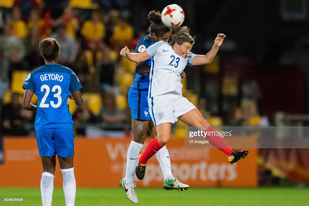 ,Grace Geyoro of France women Laura Georges of France women, Francesca Kirby of England women during the UEFA WEURO 2017 quarter finale match between England and France at The Adelaarshorst on July 30, 2017 in Deventer, The Netherlands