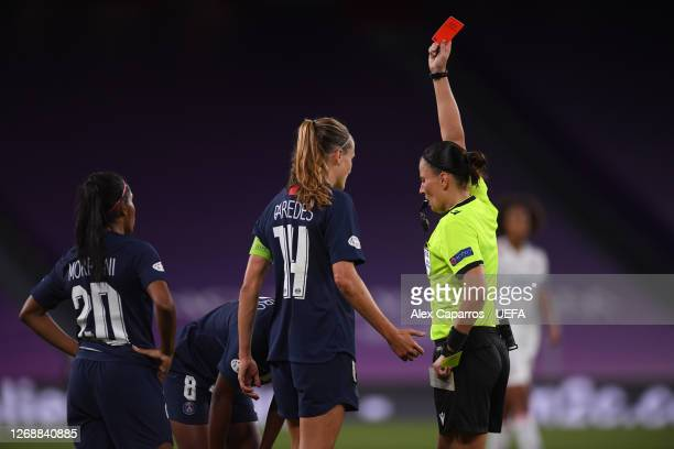 Grace Geyoro of Paris Saint-Germain is shown a red card by referee Anastasia Pustovoitova during the UEFA Women's Champions League Semi Final between...