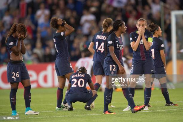 Grace Geyoro Perle Morroni and Sabrina Delannoy of Paris Saint Germain react after losing the UEFA Women's Champions League Final between Olympique...