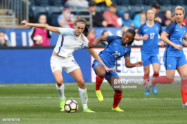 Grace Geyoro pulls the jersey of Jill Scott The England Women's National Team played the France Women's National Team as part of the She Believes Cup...