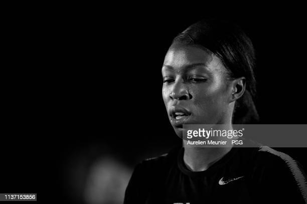 Grace Geyoro warms up during a Paris SaintGermain Women's training session before the UEFA Women's Champions League quarter final first leg match...