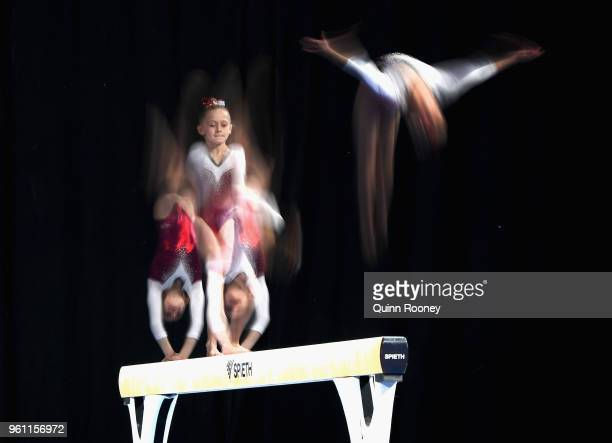 Grace Gullo of Queensland competes on the Beam during the 2018 Australian Gymnastics Championships at Hisense Arena on May 22 2018 in Melbourne...