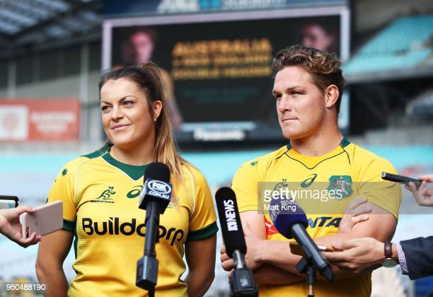 Grace Hamilton of the Wallaroos and Michael Hooper of the Wallabies speak to the media during a Rugby Australia media call at ANZ Stadium on April 24...
