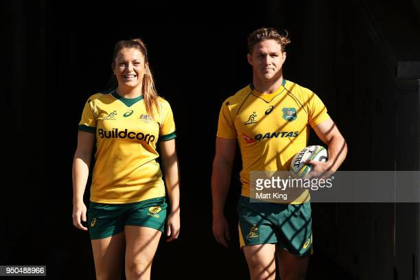 Grace Hamilton of the Wallaroos and Michael Hooper of the Wallabies arrive for a Rugby Australia media call at ANZ Stadium on April 24 2018 in Sydney...