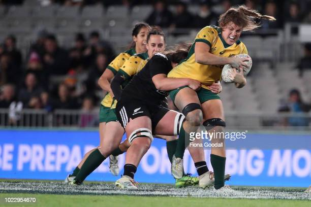 Grace Hamilton of the Wallaroos is tackled during the International Test match between the New Zealand Black Ferns and the Australia Wallaroos at...