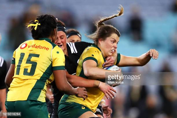 Grace Hamilton of the Wallaroos is tackled during the Women's Rugby International match between the Australian Wallaroos and New Zealand Black Ferns...