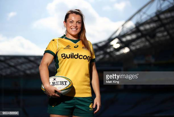 Grace Hamilton of the Wallaroos poses during a Rugby Australia media call at ANZ Stadium on April 24 2018 in Sydney Australia