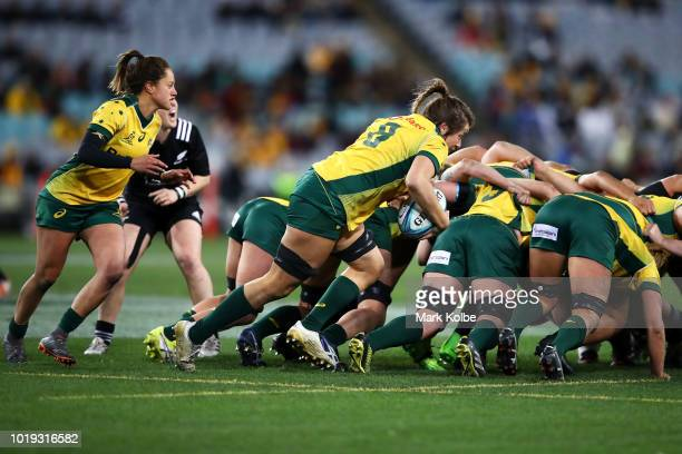 Grace Hamilton of the Wallaroos runs the ball from the back of the scrum during the Women's Rugby International match between the Australian...
