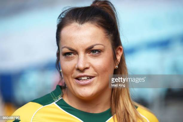 Grace Hamilton of the Wallaroos speaks to the media during a Rugby Australia media call at ANZ Stadium on April 24 2018 in Sydney Australia