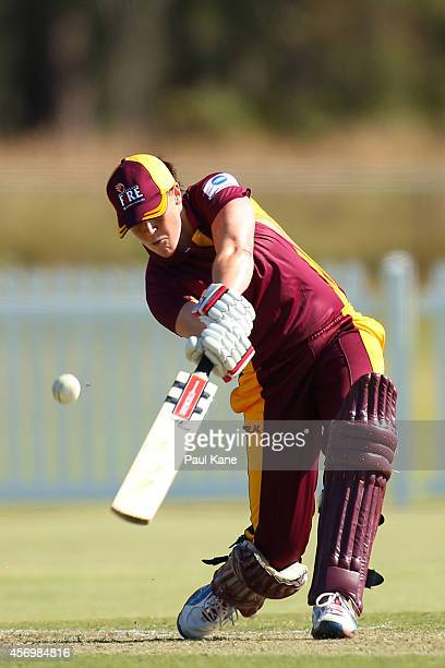 Grace Harris of Queensland bats during the WT20 match between Western Australia and Queensland at Murdoch University on October 10 2014 in Perth...