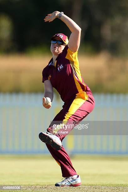 Grace Harris of Queensland bowls during the WT20 match between Western Australia and Queensland at Murdoch University on October 10 2014 in Perth...
