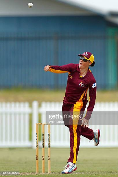 Grace Harris of Queensland Fire bowls during the WNCL match between Western Australia and Queensland at Murdoch University on October 11 2014 in...