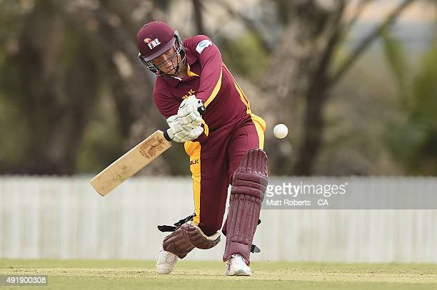 Grace Harris of the Fire bats during the round one WNCL match between Queensland and Victoria at Allan Border Field on October 9 2015 in Brisbane...
