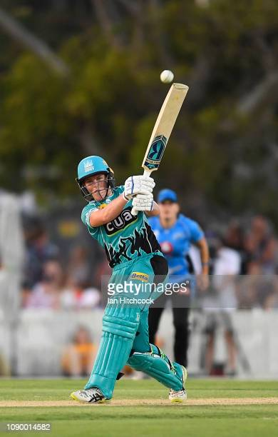 Grace Harris of the Heat bats during the Womens Big Bash League match between the Brisbane Heat and the Adelaide Strikers at Harrup Park on January...