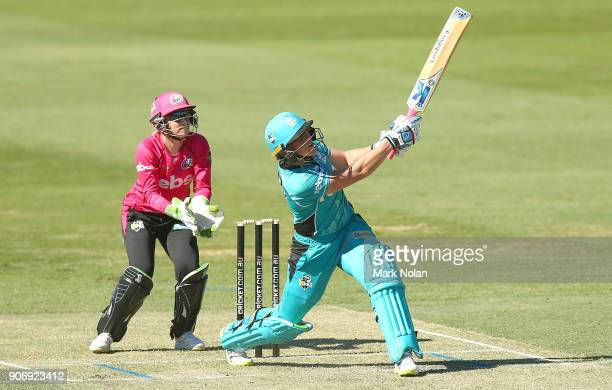 Grace Harris of the Heat bats during the Women's Big Bash League match between the Brisbane Heat and the Sydney Sixers at Hurstville Oval on January...