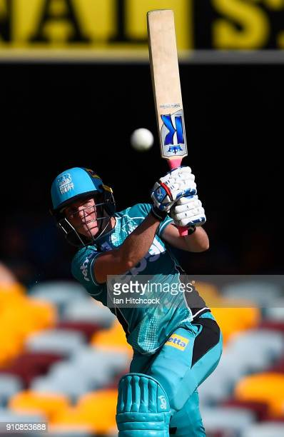 Grace Harris of the Heat bats during the Women's Big Bash League match between the Brisbane Heat and the Sydney Thunder at The Gabba on January 27...