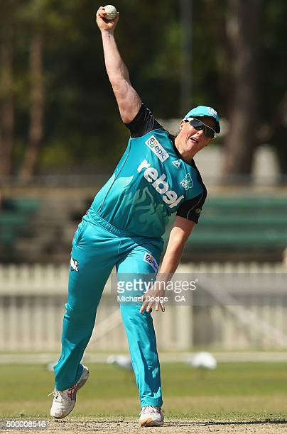 Grace Harris of the Heat bowls during the Women's Big Bash League match between the Melbourne Stars and the Brisbane Heat at Junction Oval on...