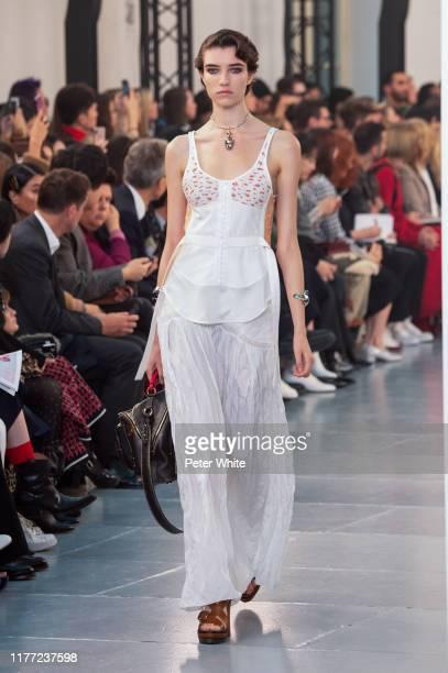Grace Hartzel walks the runway during the Chloe Womenswear Spring/Summer 2020 show as part of Paris Fashion Week on September 26, 2019 in Paris,...