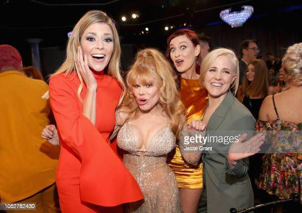 Grace Helbig Charo Mamrie Hart and Hannah Hart attend The 8th Annual Streamy Awards at The Beverly Hilton Hotel on October 22 2018 in Beverly Hills...