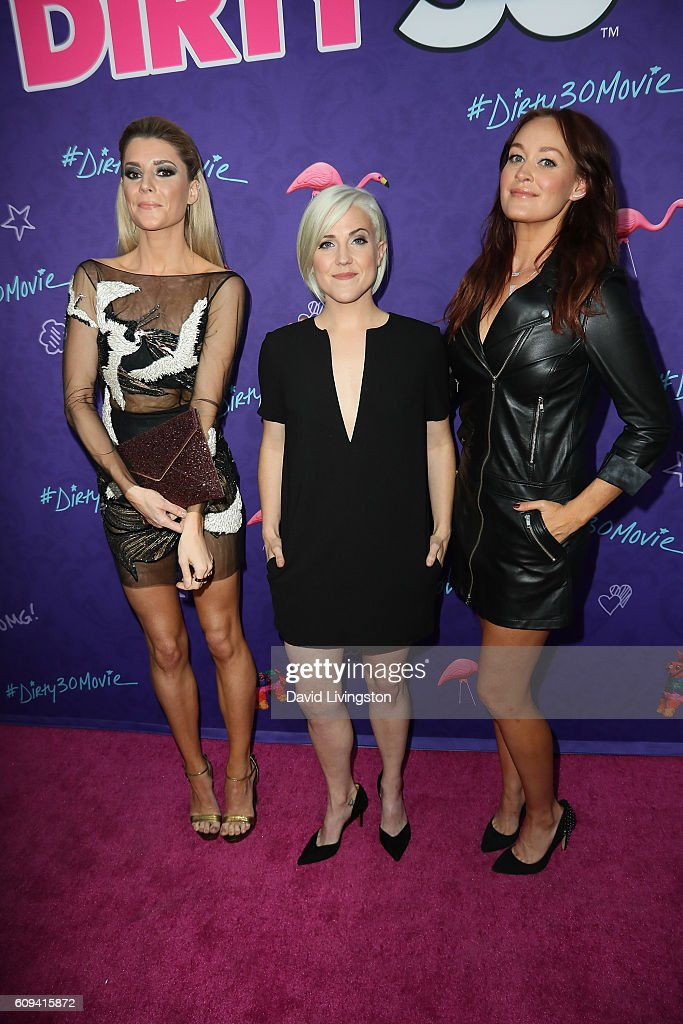 Grace Helbig, Hannah Hart and Mamrie Hart arrive at the Premiere of Lionsgate's 'Dirty 30' at the ArcLight Hollywood on September 20, 2016 in Hollywood, California.