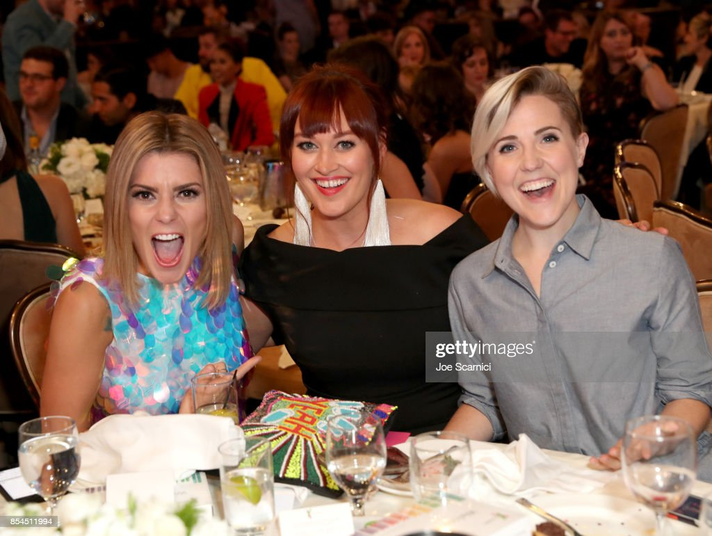 Grace Helbig, Mamrie Hart and Hannah Hart at the 2017 Streamy Awards at The Beverly Hilton Hotel on September 26, 2017 in Beverly Hills, California.
