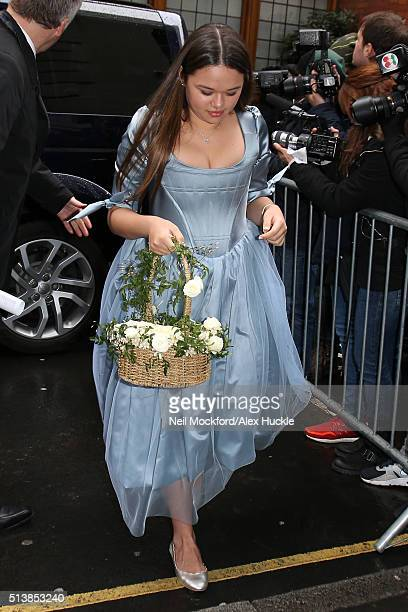 Grace Helen Murdoch arrives at St Brides Church for the Wedding of Jerry Hall and Rupert Murdoch on March 5 2016 in London England