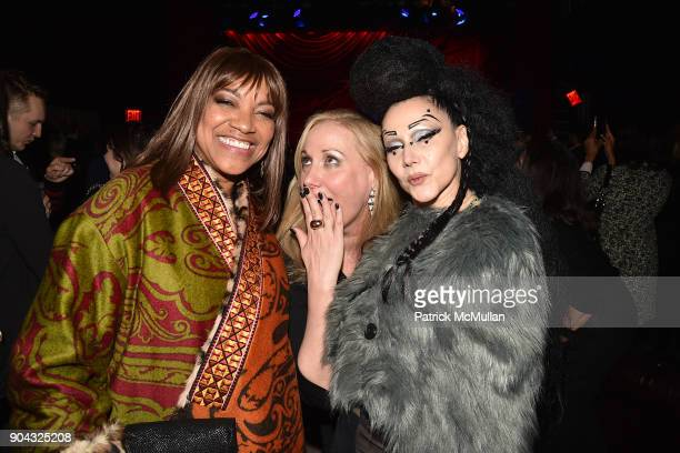 Grace Hightower Amy Sacco and Susanne Bartsch at The Cinema Society Bluemercury host the after party for IFC Films' 'Freak Show' at Public Arts on...