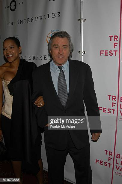 Grace Hightower and Robert De Niro attend The Interpreter screening Arrivals and AfterParty at Ziegfeld Theater and MOMA on April 19 2005 in New York...