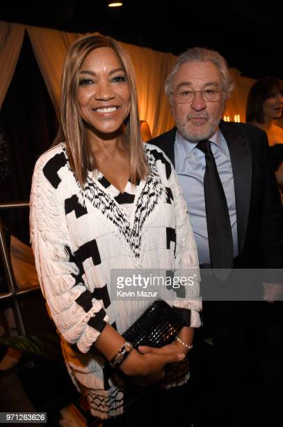 Grace Hightower and Robert De Niro pose backstage during the 72nd Annual Tony Awards at Radio City Music Hall on June 10 2018 in New York City