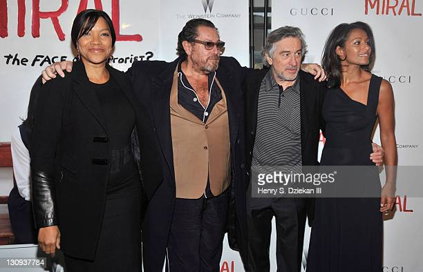 Grace Hightower director Julian Schnabel actor Robert De Niro and screenwriter Rula Jebreal attend the premiere of Miral at the United Nations...