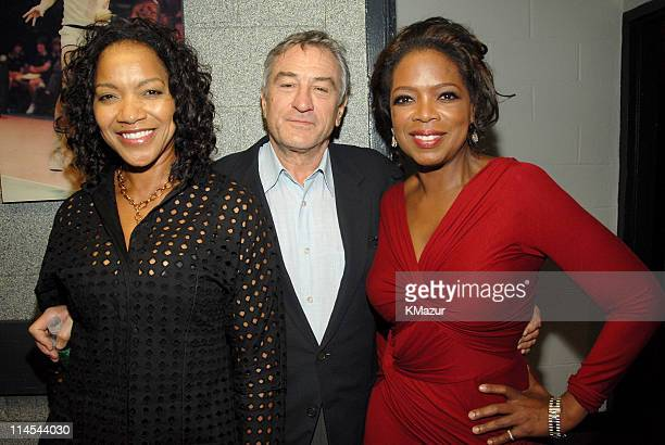 Grace Hightower Robert De Niro and Oprah Winfrey during Barbra Streisand in Concert Backstage and Audience October 9th 2006 at Madison Square Garden...