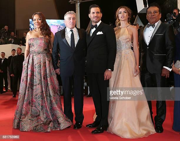 Grace Hightower Robert De Niro Edgar Ramirez Ana de Armas and Roberto Duran attend the 'Hands Of Stone' premiere during the 69th annual Cannes Film...