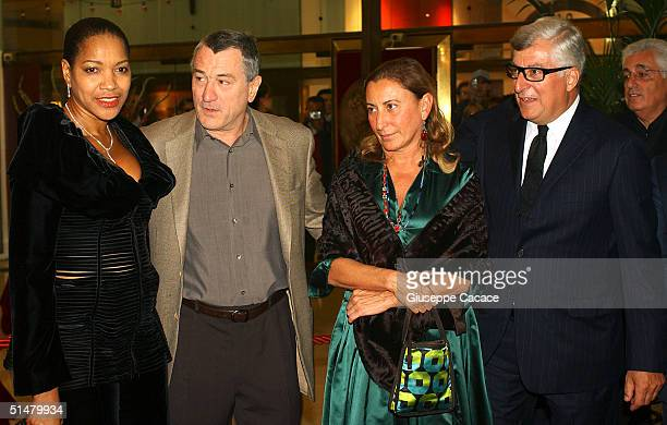 Grace Hightower Robert De Niro Miuccia Prada Patrizio Bertelli arrives at the Gala Premiere of film 'Stage Beauty' at Teatro Manzoni on October 14...
