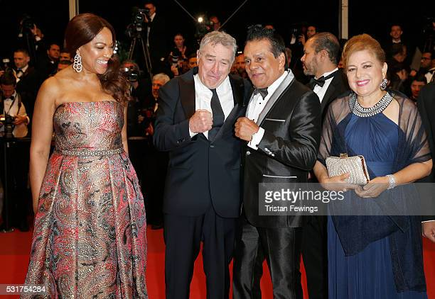Grace Hightower Robert De Niro Roberto Duran and his wife Felicidad attends the Hands Of Stone premiere during the 69th annual Cannes Film Festival...