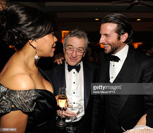 Grace Hightower Robert DeNiro and Bradley Cooper attend the 2013 Vanity Fair Oscar Party hosted by Graydon Carter at Sunset Tower on February 24 2013...