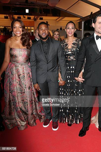 """Grace Hightower, Usher and his wife Grace Miguel leave the """"Hands Of Stone"""" premiere during the 69th annual Cannes Film Festival at the Palais des..."""