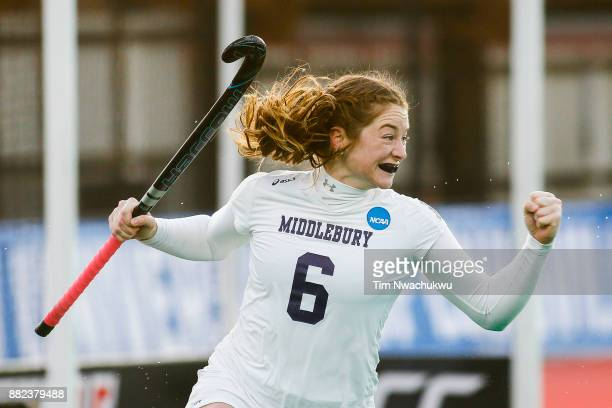 Grace Jennings of Middlebury College celebrates after scoring during the Division III Women's Field Hockey Championship held at Trager Stadium on...