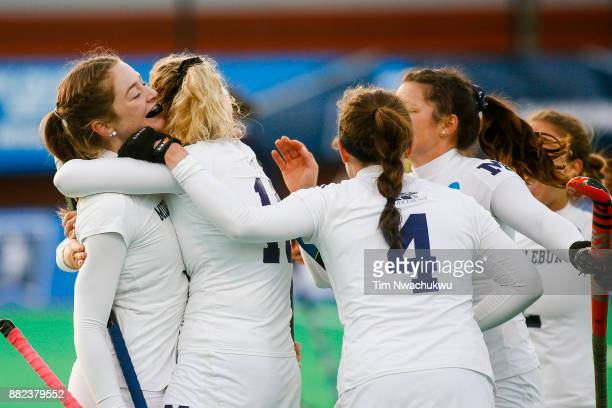 Grace Jennings of Middlebury College celebrates with teammates after scoring during the Division III Women's Field Hockey Championship held at Trager...