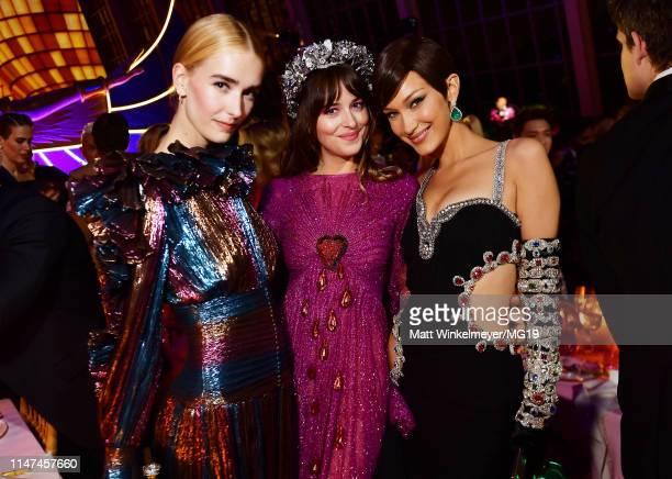 Grace Johnson, Dakota Johnson and Bella Hadid attend The 2019 Met Gala Celebrating Camp: Notes on Fashion at Metropolitan Museum of Art on May 06,...