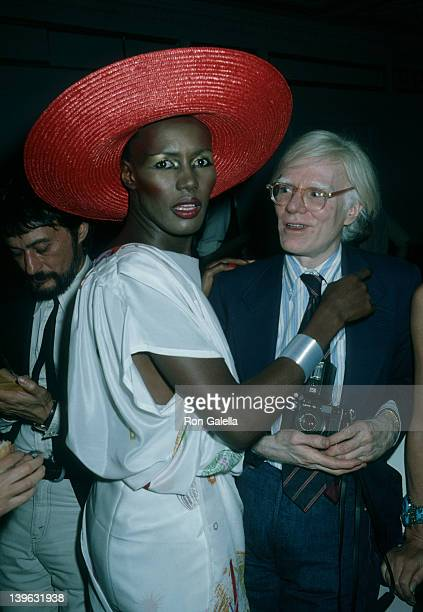 Grace Jones and Andy Warhol attend the premiere party for 'Grease' on June 13 1978 at Studio 54 in New York City