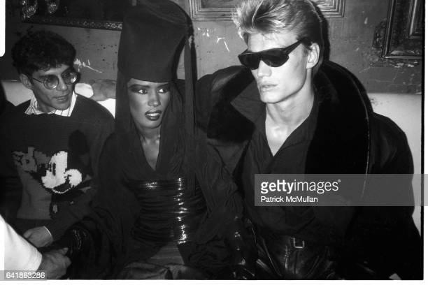 Grace Jones and Dolph Lundgren at Grace Jones' party at the Palladium December 20 1985