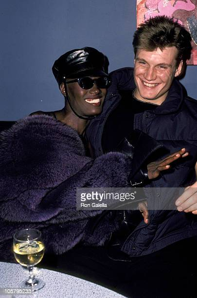 Grace Jones and Dolph Lundgren during Grace Jones Performance After Party January 1 1984 at Kamikaze Club in New York City New York United States