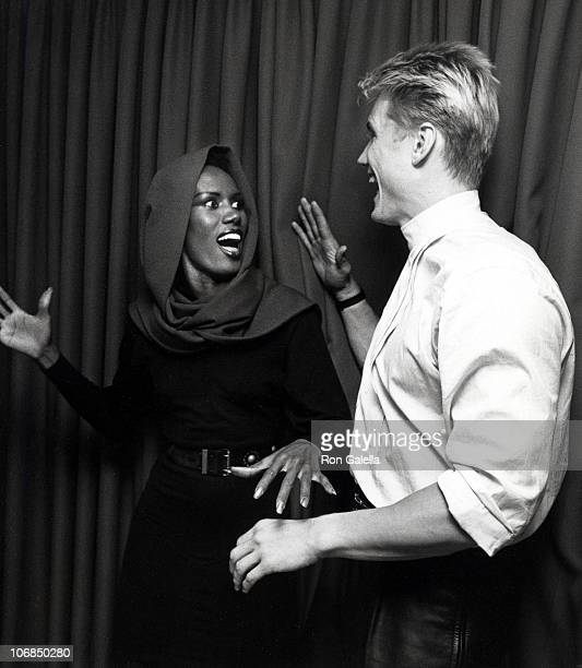 Grace Jones and Dolph Lundgren during Grace Jones Sighting at Les Tuilieries Restaurant in New York City October 8 1985 at Les Tuilieries Restaurant...