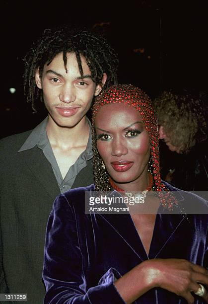 Grace Jones and her son Paolo attend the Made in Italy Awards December 9 2000 at Cipriani''s in New York City The event honored the best Italian...