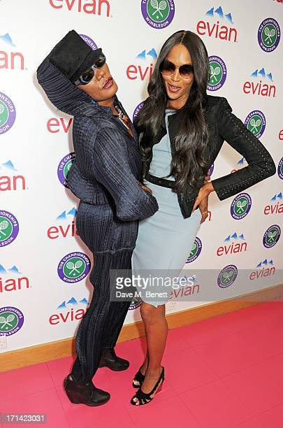 Grace Jones and Naomi Campbell attend the evian 'Live Young' Suite at Wimbledon on June 24 2013 in London England