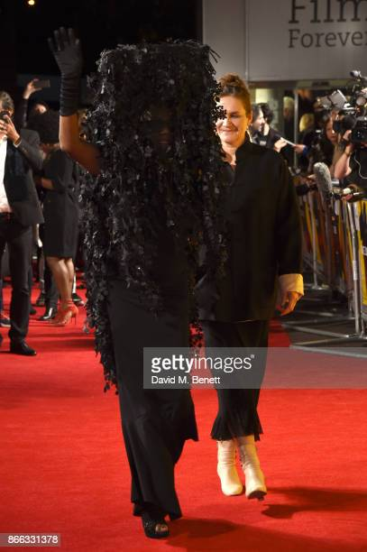 Grace Jones and Sophie Fiennes attend the UK Premiere of 'Grace Jones Bloodlight And Bami' at the BFI Southbank on October 25 2017 in London England