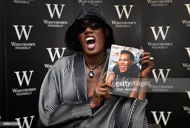 """Grace Jones attends a signing of her new autobiography """"I'll Never Write My Memoirs"""" at Waterstones, Piccadilly on November 12, 2015 in London,..."""